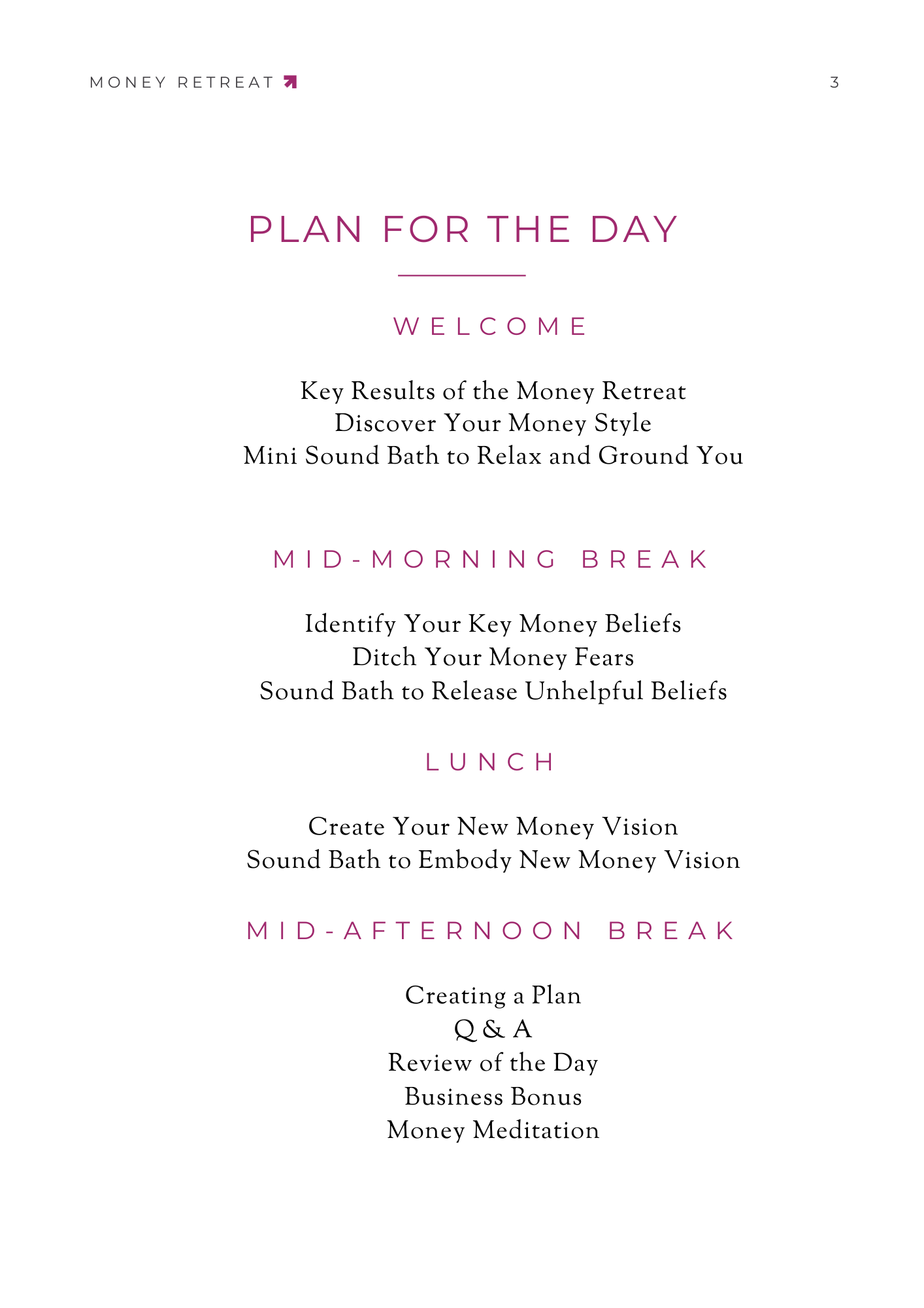 Money Retreat Agenda or Plan for the Day